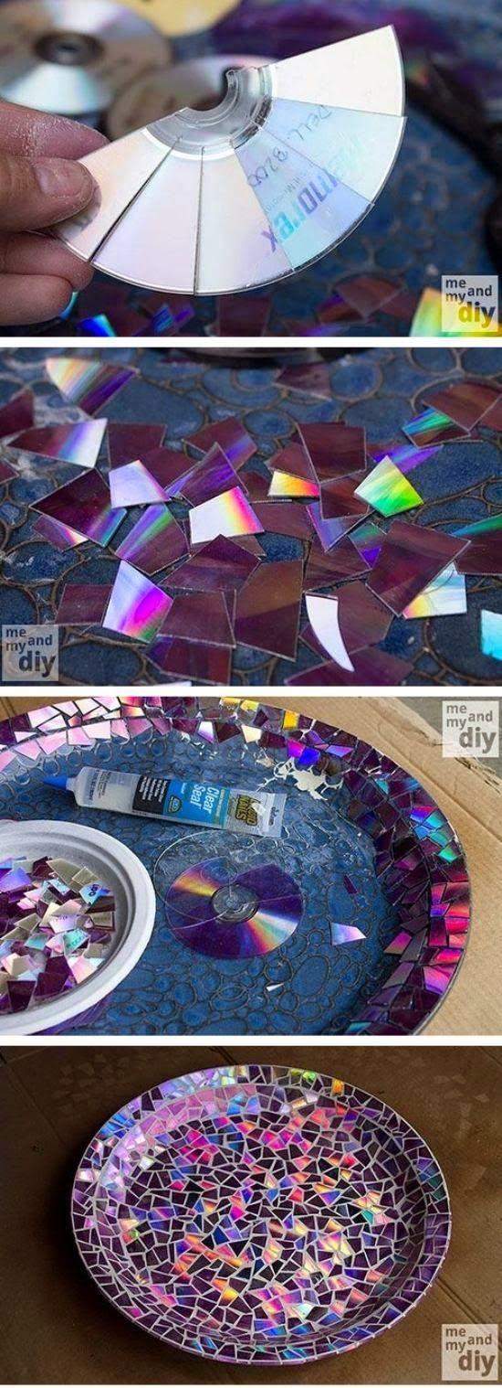 Plato mosaico con cds