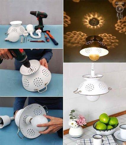 Reciclado de un escurridor o colador - Transformarlo en una bonita lampara