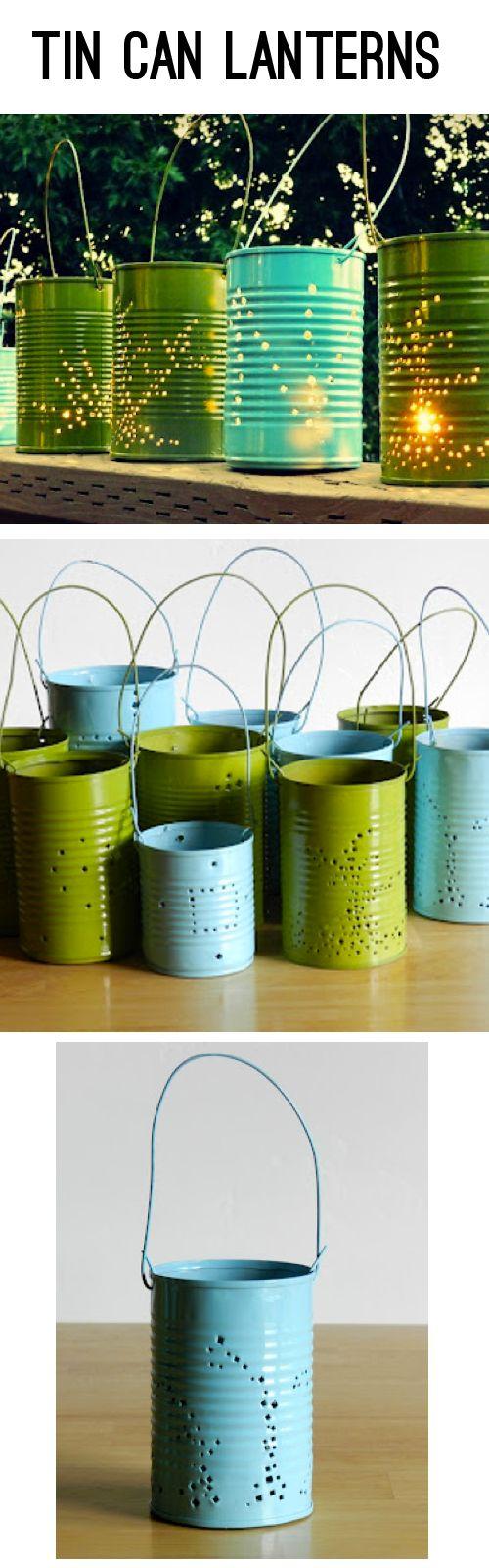Reutilizar latas haciendo estas hermosas lamparas de exterior para velas