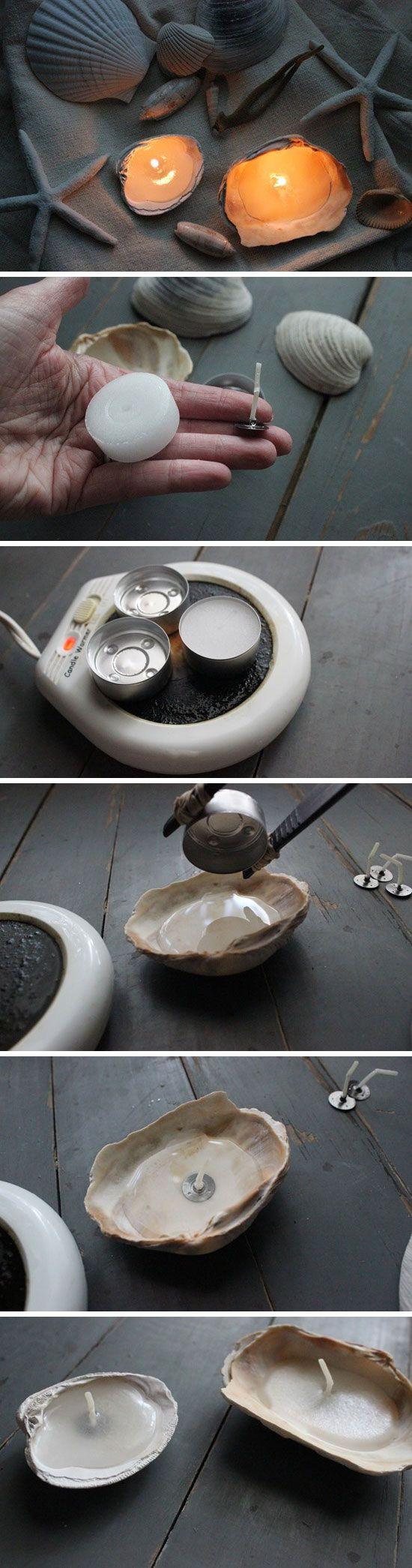Velas sencillas en conchas
