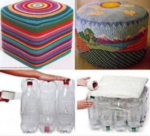 Asiento con botellas de plástico