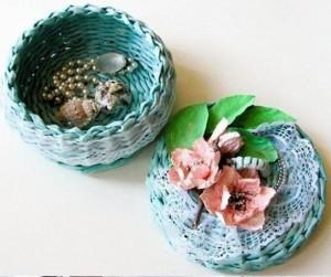 Como hacer cestas decorativas con papel de periodico