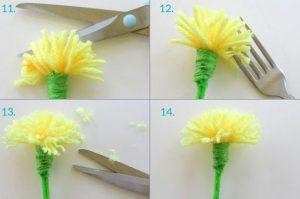 Como hacer flores con lana