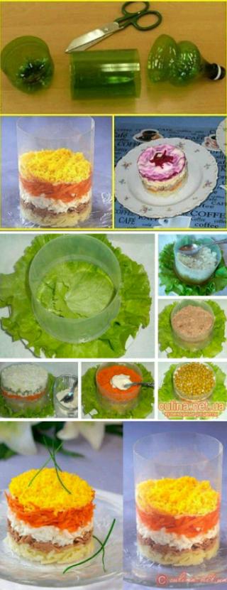 Moldes para ensalada con una botella de plástico