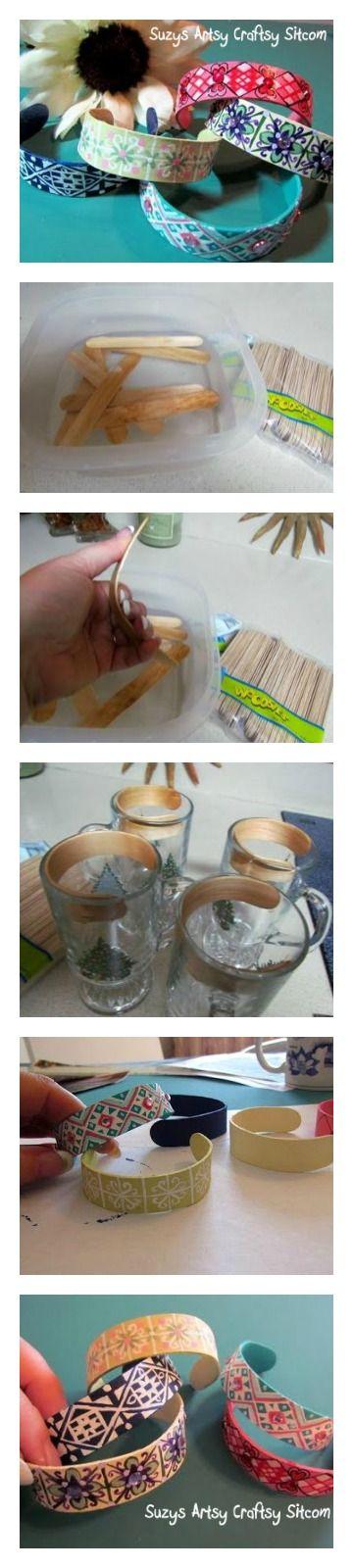 Pulseras de madera hechas en casa