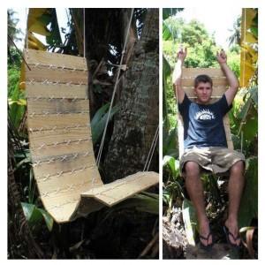 Silla colgante para el jardín hecha con pales
