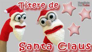 Marioneta de Papa Noel hecha con un calcetin